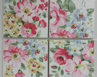 2, 4 or 6 Ceramic Coasters in Cath Kidston Spring Bouquet White