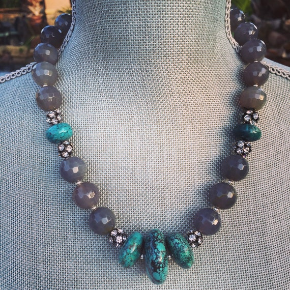 Grey Agate with Genuine Turquoise and Rhinestone Boho Statement Necklace and Earring Set