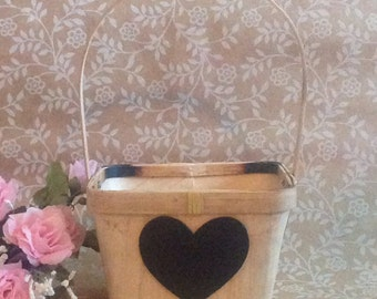 Rustic Wedding Flower Girl Basket  with Chalkboard Heart ready to personalize
