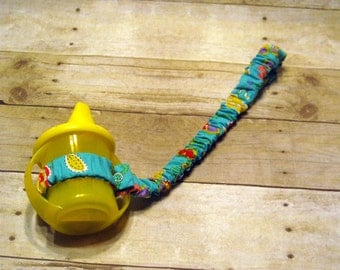 Sippy Cup Strap Teal Floral - Ready to Ship