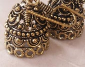 Bronze plated  medium jhumkas or Indian hanging earring bases x 2, 16mm, free combined shipping