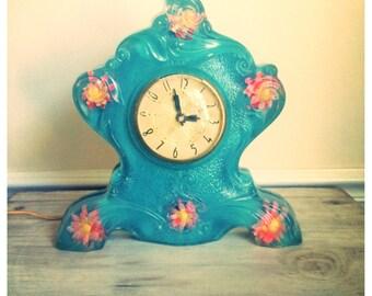 Vintage glass clock / Robins egg blue clock / antique clock / Gordon specialties glass clock / blue pink floral clock