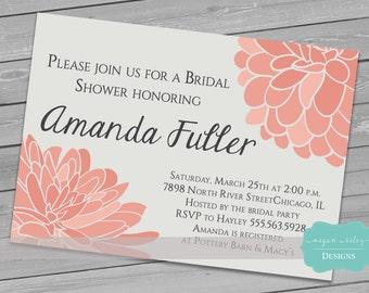 Dahlia Bridal Shower Invitation/ Wedding/ Baby  Shower