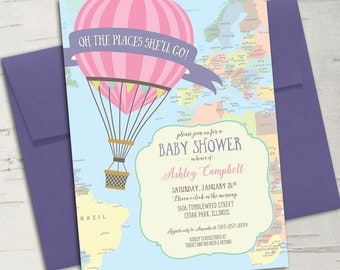 Hot Air Balloon Baby Shower Invitation || Oh the Places You'll Go || Travel Baby Shower or Birthday Invitation || Printable Invitation