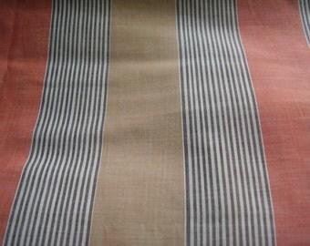 Vintage 1950's, 60's Grey, Tangerine, Neutral Stripe Chambray? Fabric, 5 yards