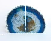 Blue Agate Bookends - Medium Blue, Brown and White Crystal Agate Bookends