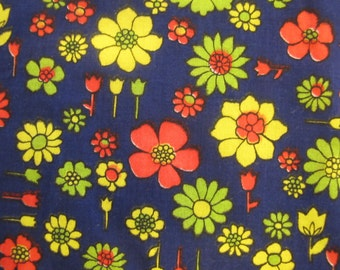1970's Blue Flower Fabric, Blue, Red, Yellow, Flower, Floral, Flower Power, 1970's, 1960's, Cotton, Quilter Weight, Fabric Piece