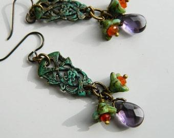 Carnelian, Amethyst, Vintage Victorian Verdigris ,Czech ,Hypoallergenic,Earrings