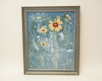 Mid Century Floral Original Painting Blue Signed