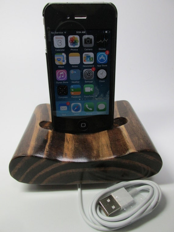 Hand made (USA)  iphone 4 or iPhone 5 and 6 and 6 plus and itouch docking charging station for home or office. Recycled pine.