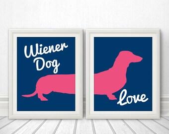 Wiener Dog Love, Wiener Dog, Dachshund, Wiener Dog Print, Wiener Dog Art, Wiener Dog Poster, Dog Print, Dog Art, Dog Poster - 11x14