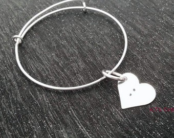 Semicolon Hand Stamped Aluminium Adjustable bangle/bracelet with 18mm heart. Handmade Stamped Metal Jewellery - Semicolon