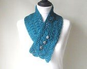 Teal green scarf, crocheted scarf, button scarf, fall accessories, ladies scarf, uk scarves, Winter scarf, womens scarf, lacy scarf