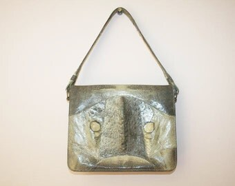 Vintage Reptile Purse/ 50's Reptile Purse/Elegant Lizard Purse/Taupe Lizard Handbag/Vintage Reptile Handbag/Vintage Lizard Handbag
