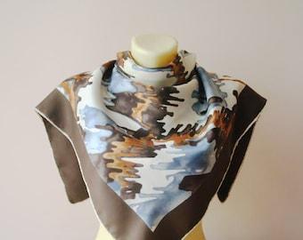 Jean Patou Scarf/Silk Scarf/Vintage Rare Scarf/MOD Scarf/Autumn Colors Scarf/Abstract Scarf/Vintage Silk Scarf/1960s Scarf