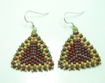 Southwestern Red Triangle Earrings, Tribal, Boho, Peyote Stitch