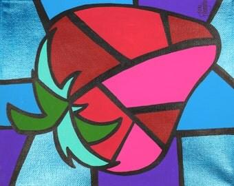 Strawberry Cubism Art, Picasso Strawberry, 8x10 Acrylic Painting, Kitchen Decor, Original Home Decor, Colorful Strawberry Artwork, Gift Idea