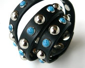 Turquoise Triple Wrap Leather Bracelet | Biker Band | Motorcycle Cuff | Silver Rivets Stud Wrist Wrap | Gypsy Hippie Boho Leather Jewelry