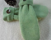 Felted Wool Mittens Adult Large Mint Green and Cream  MH36