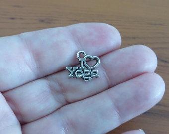 10 I Love Yoga Small Charms Fitness Meditation Silver Tone I Heart Yoga Exercise Studio Pendants Charm Jewelry 12x14 mm