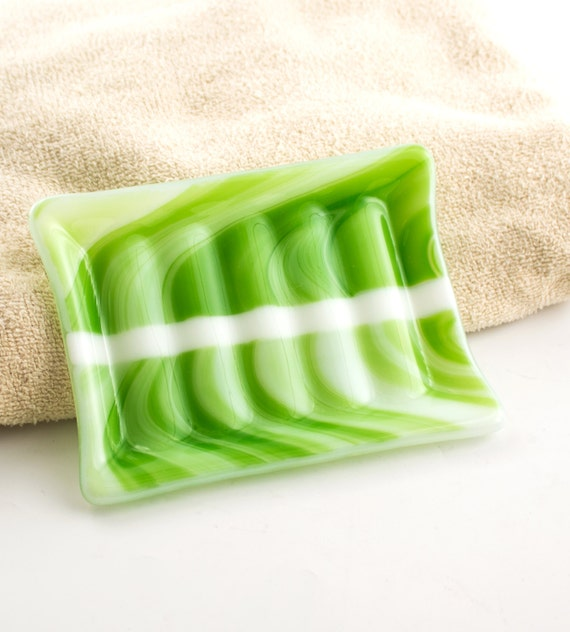 lime green fused glass soap dish bath by nostalgianmore on