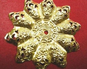 6pc 48mm gold finish metal filigree center piece/wraps-4850