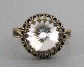 Estate Style Vintage Diamond Crystal Swarovski Crystal Ring Adjustable Antique Brass Victorian Crown
