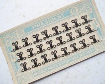 Vintage Hooks and Eyes Cards - Vintage Sewing Fasteners - 'President 'Size One Hooks and Eyes - Carded Hooks and Eyes