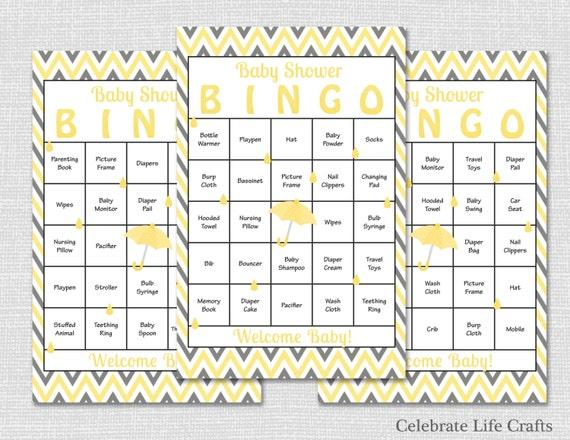 100 Yellow Baby Shower Bingo Cards Download Printable Baby