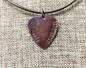 """Personalized Guitar Pick -Hand Stamped & Antiqued Copper Guitar Pick Necklace - """"Into your heart I'll beat again"""" - Dave Matthews Band"""