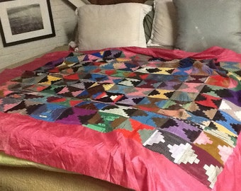 Quilt Top, Log Cabin Pattern, Silk, all done by hand