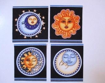 """4 Sun Moon 4"""" Iron On Patch Set"""