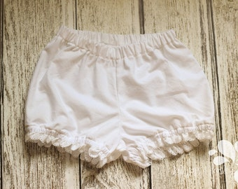 White Eyelet Lace Bubble Olivia Bloomers Under Dresses Easter Ruffled Sunday Ruffle Diaper Panties Hider Cover