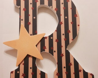 Wooden Letters Vintage Stars and Stripes Patriotic Decor