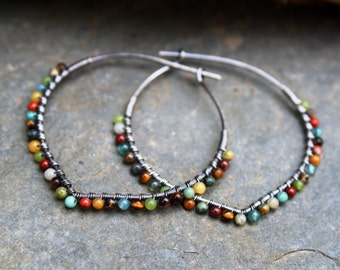 Sterling Silver Hoops, Desert Calico, Oxidized Silver, Petal Hoops, Wire Wrapped Hoops, Stone Hoops, Earth Tones, Boho Jewelry, Mixed Stone