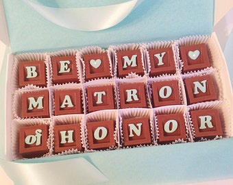 Will You Be My Matron of Honor Chocolate Gift, Bridal Party Gift, Unique Matron of Honor Proposal - Chocolate Matron of Honor Proposal