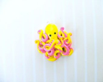 pink and yellow marbled octopus charm