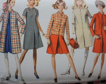 vintage 1960s Simplicity sewing pattern 7809 misses dress coat and jacket size 12