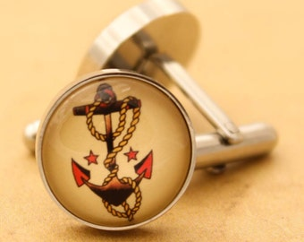 Silver Anchor Cufflinks - Stainless Steel Mens Nautical Sailor Jerry Cuff Links Vintage Rockabilly Silver