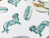 Hot Dogs and Sausage Dogs Tea Towel
