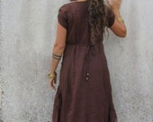 Lagenlook  Brown  Maxi pintuck dress  Earthy  Woodland goddess