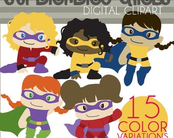 Super Hero Girls Clipart -Personal and Limited Commercial- Girl Superheroes Clipart in different colors