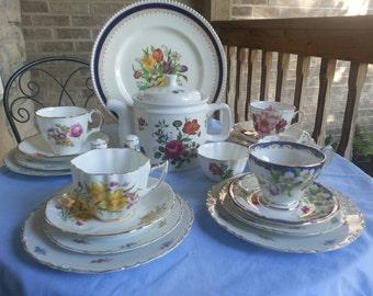 Gorgeous English Mismatched Tea Set for 4,  22 Pieces