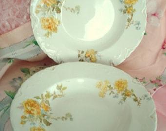 Vintage Wedding Soup Bowls Johnson Bros. England Semi-Porcelain Yellow Rose on Ivory Set of 4 Vintage Bridal Shower