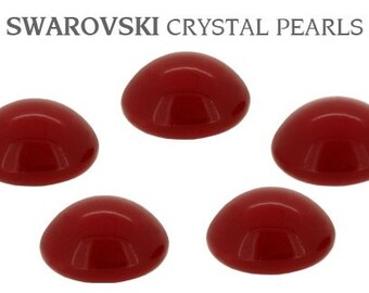 Red Coral Swarovski Pearl minimalist 6mm earring studs half dome round Cabochons Silver tone or Hypo Titanium Post Jewelry Ladies Gift