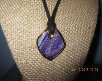 Beautiful Purple Druzy Trimmed Electro Plated Copper