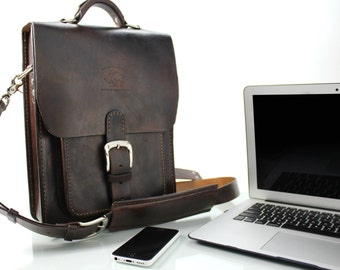 "14"" Leather Satchel Leather Messenger Leather Laptop Bag MacBook Air 13"" 235"