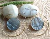 """Bohemian/Tribal Earrings, """"Isla"""" Handcrafted, Black MOP Shell, Brass & Sterling, Boho-Chick"""
