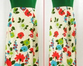 Vtg 60s – 70s MOD Maxi - POP ART Floral Skirt – Solid top  Hostess Hippie Chic Dress  sz 8/M
