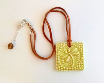 Porcelain double-sided dragonfly pendant, deertan leather cord, dragonfly jewelry, yellow dragonfly pendant (Style no. N1530)